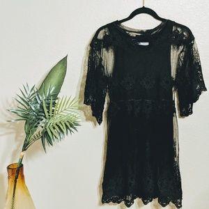 Zara Collection Black 3/4 Sleeve Lace Dress Sz M